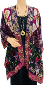 Wine Valley Burnout Velvet & Satin Butterfly Jacket