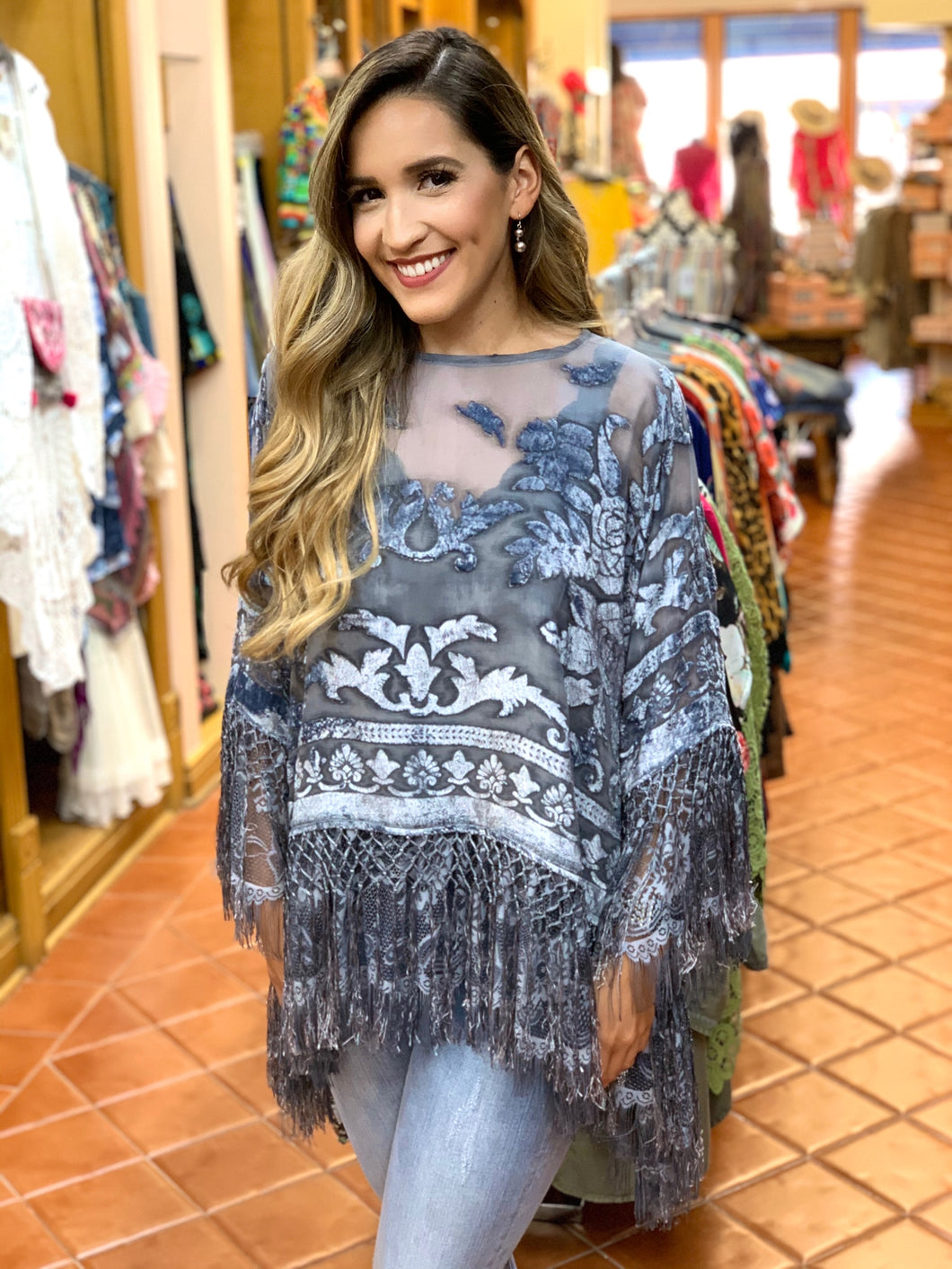 Fabulous Burnout Velvet, Fringe & Lace Tunic