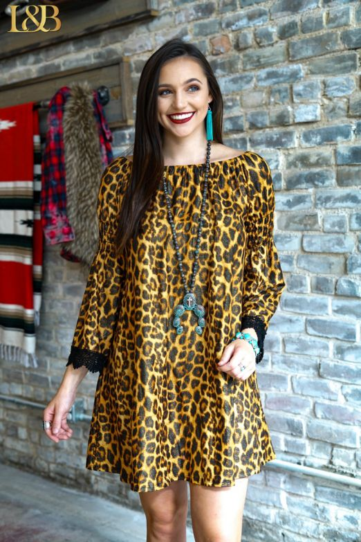 Off Shoulder Leopard Dress