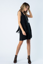 Load image into Gallery viewer, Ultra Suede & Lace Fringed Vest Black