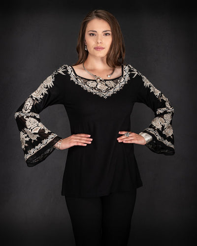 Black Knit Top w/ Ivory Embroidery, by Vintage Collection