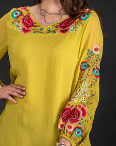 Citron Floral Embroidered Top