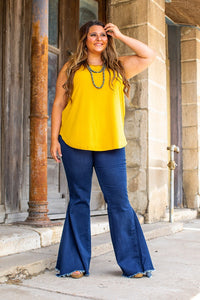 Mid Wash High Waisted Bell Bottom Jeans in Regular & Plus Sizes