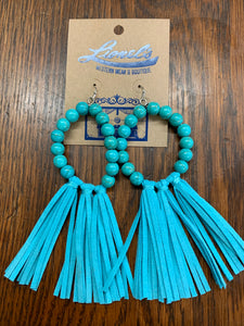 Fringed leather & bead earrings