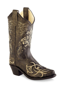 Girls Vintage Charcoal Western Boot