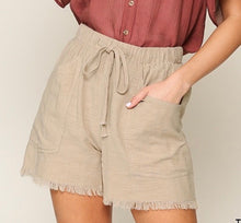 Load image into Gallery viewer, Taupe Frayed Hem Shorts