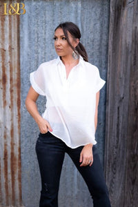 Ivory Bat Sleeve Collar Top