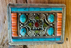 Tibetan Genuine Stones Belt Buckle, Unisex