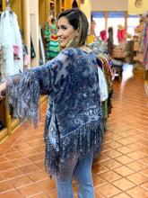 Load image into Gallery viewer, Fabulous Burnout Velvet, Fringe & Lace Tunic
