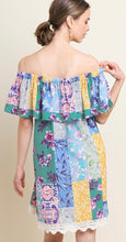 Load image into Gallery viewer, Mixed Floral Print Off Shoulder Dress