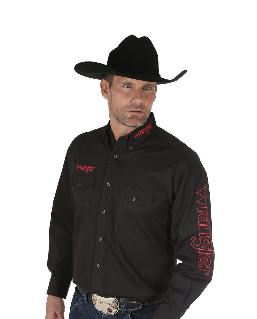 Men's Wrangler Logo Shirt - Black
