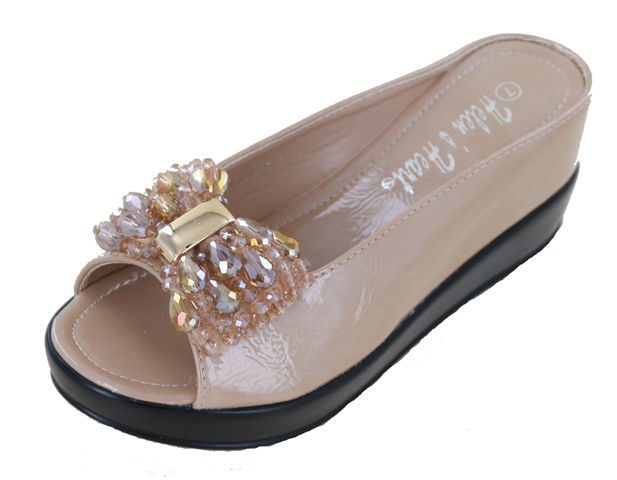 Ladies Hidden Wedge with Crystal Bow - Cream