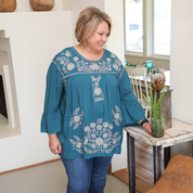 Load image into Gallery viewer, Kerri Teal Top w/ Grey Embroidery