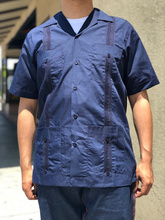 Load image into Gallery viewer, Men's Navy Short Sleeve Guayabera