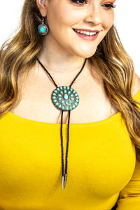 Ladies Concho Bolo Necklace In 3 Colors, Turquoise, Fuchsia, & Mustard