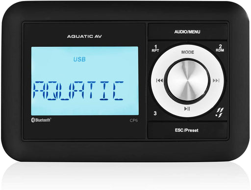 Aquatic AV CP6 Compact Bluetooth & USB Waterproof Marine Stereo, Built-in 288W Amplifier, Connect Up to 8 Speakers, Clock Display, AM/FM Radio with 30 Presets (US & Euro), Waterproof (IP65)