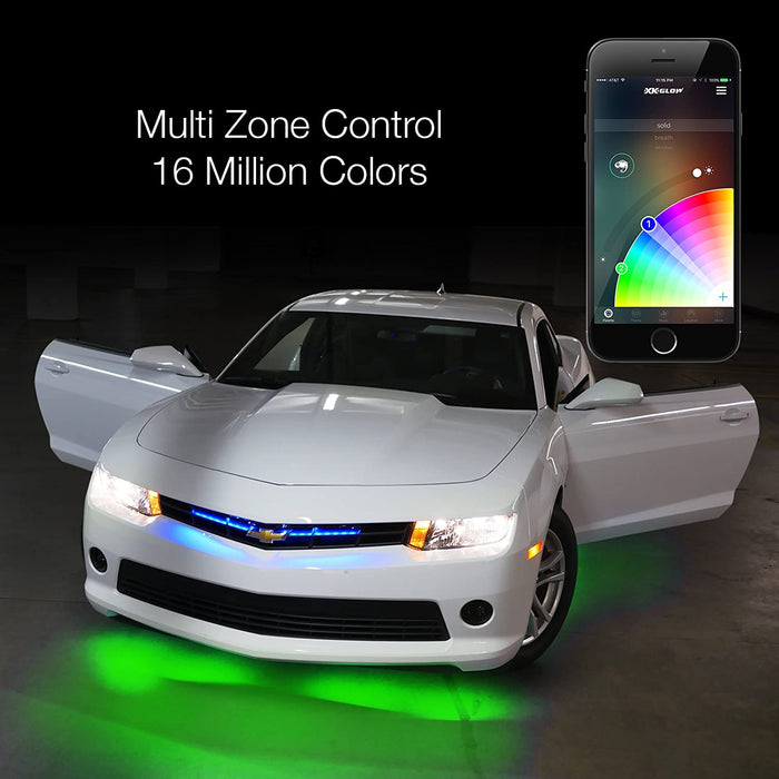 "6pc 10"" 2nd Gen Flexible Strip Car Interior Grill XKchrome App Control Under Car LED Accent Light Kit Millions of Colors Patterns Dual Zone Music Sync Smart Brake Feature"