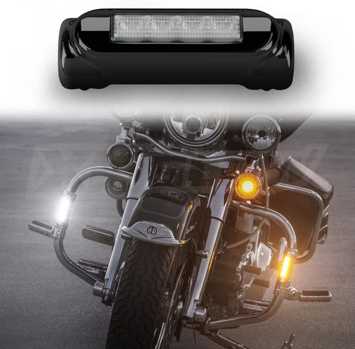 Chrome Motorcycle Highway Bar Switchback Driving Lights DRL Turnsignal for Crash Bars Harley Davidson Touring Bikes Ultra Classic Limited Road King Street Glide Road Glide Trike