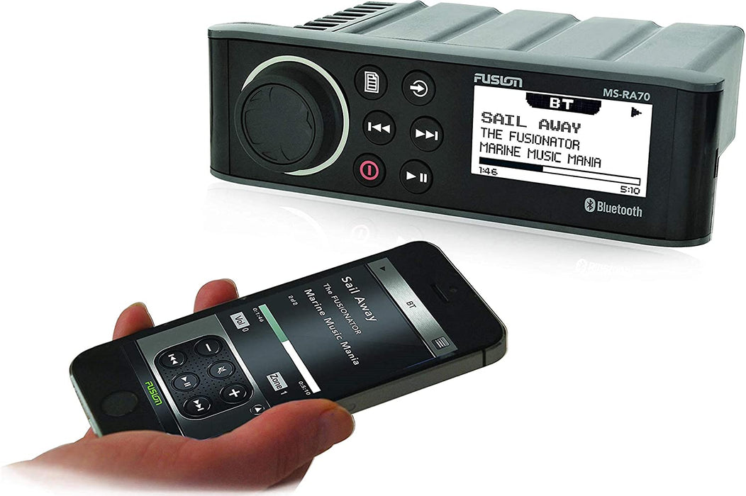 Fusion MS-RA70 Stereo with 4x50W AM/FM/Bluetooth 2-Zone USB Wireless Control for Fusion Link App