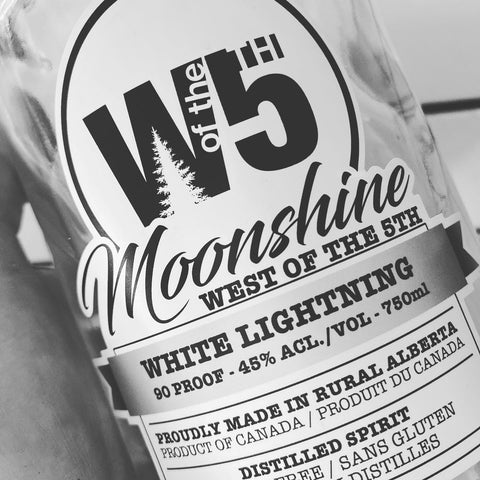 the label for West of 5th Distillery's  first moonshine, White Lightning