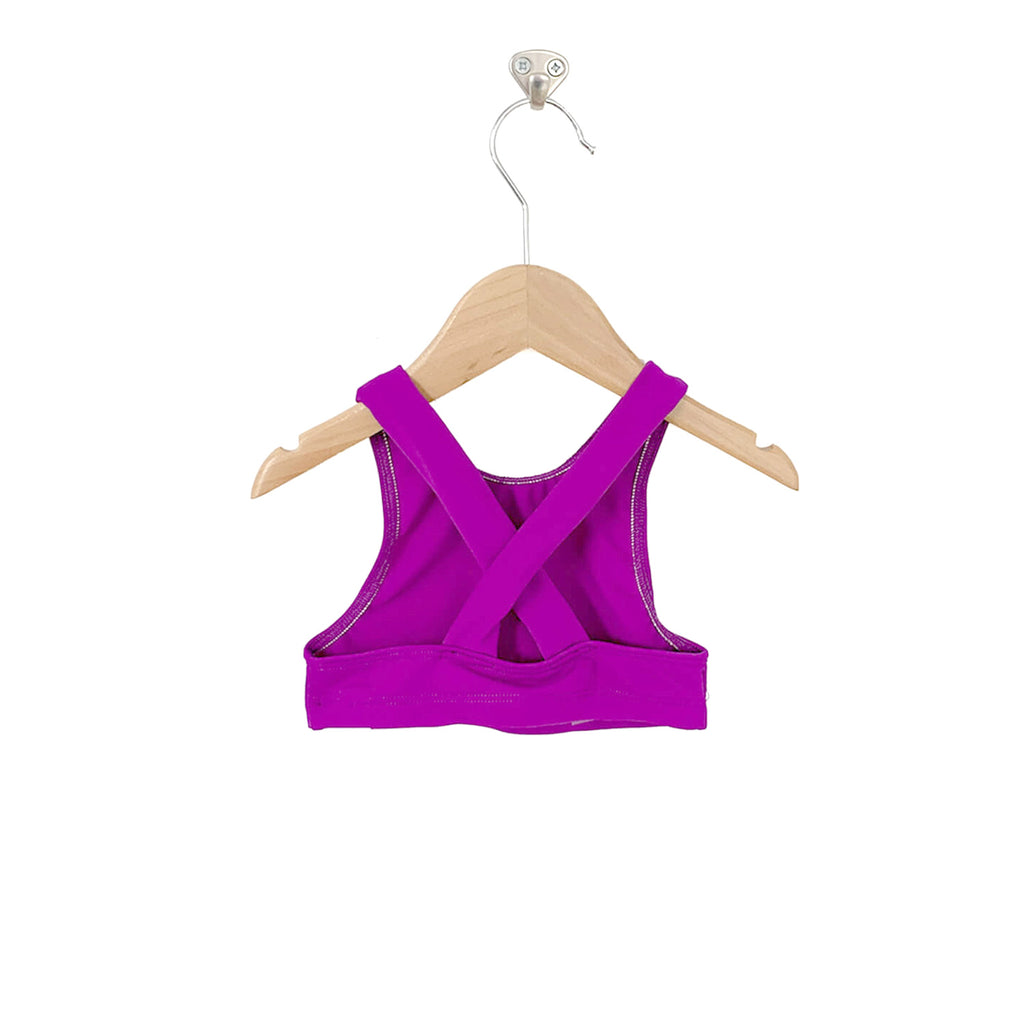 Adele Criss Cross Halter Swim Top - Violet