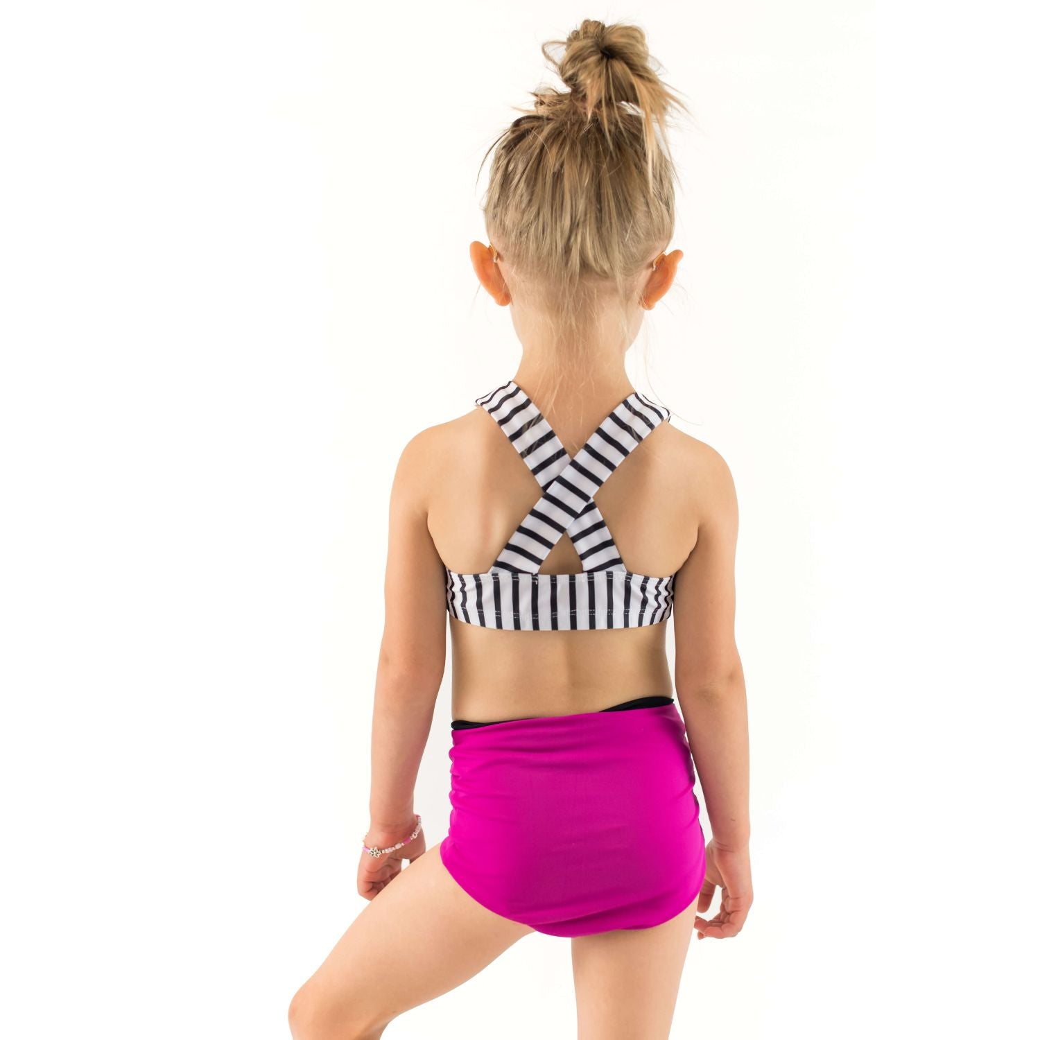 Adele Criss Cross Halter Swim Top - Stripes