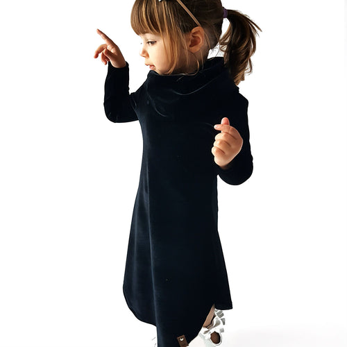 Avery Cowl Dress - Black Velvet