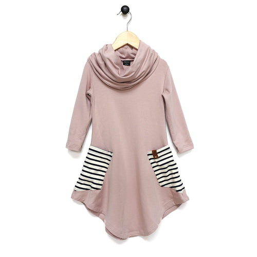 Avery Cowl Dress - Pink Stripe