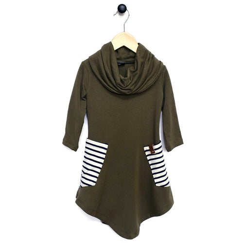 Avery Cowl Dress - Olive Stripe