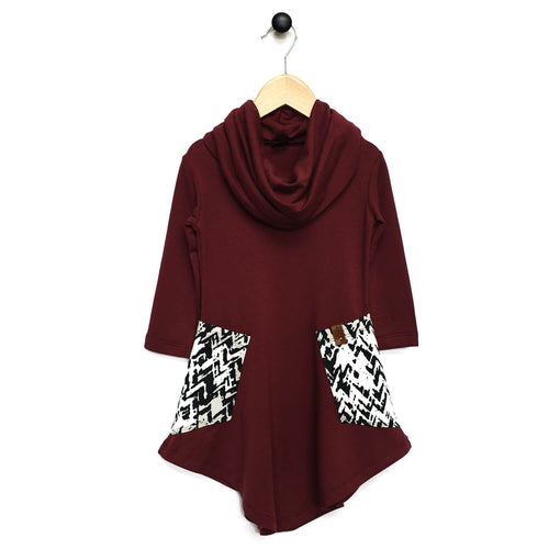 Avery Cowl Dress - Maroon Chevron