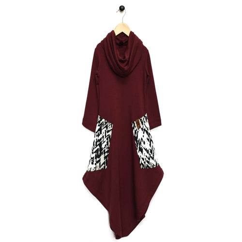Avery Woman Cowl Dress - Maroon Chevron