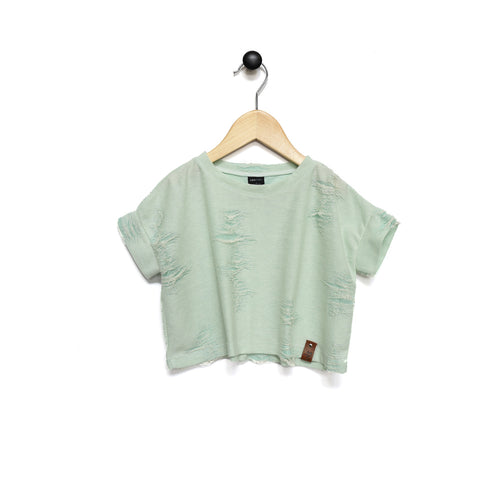 Blaire Crop Top - Distressed Mint