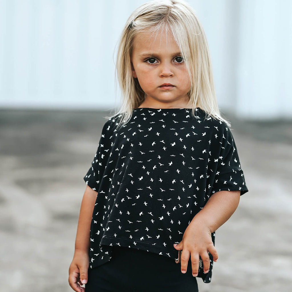 Blaire Crop Top - Black Birds