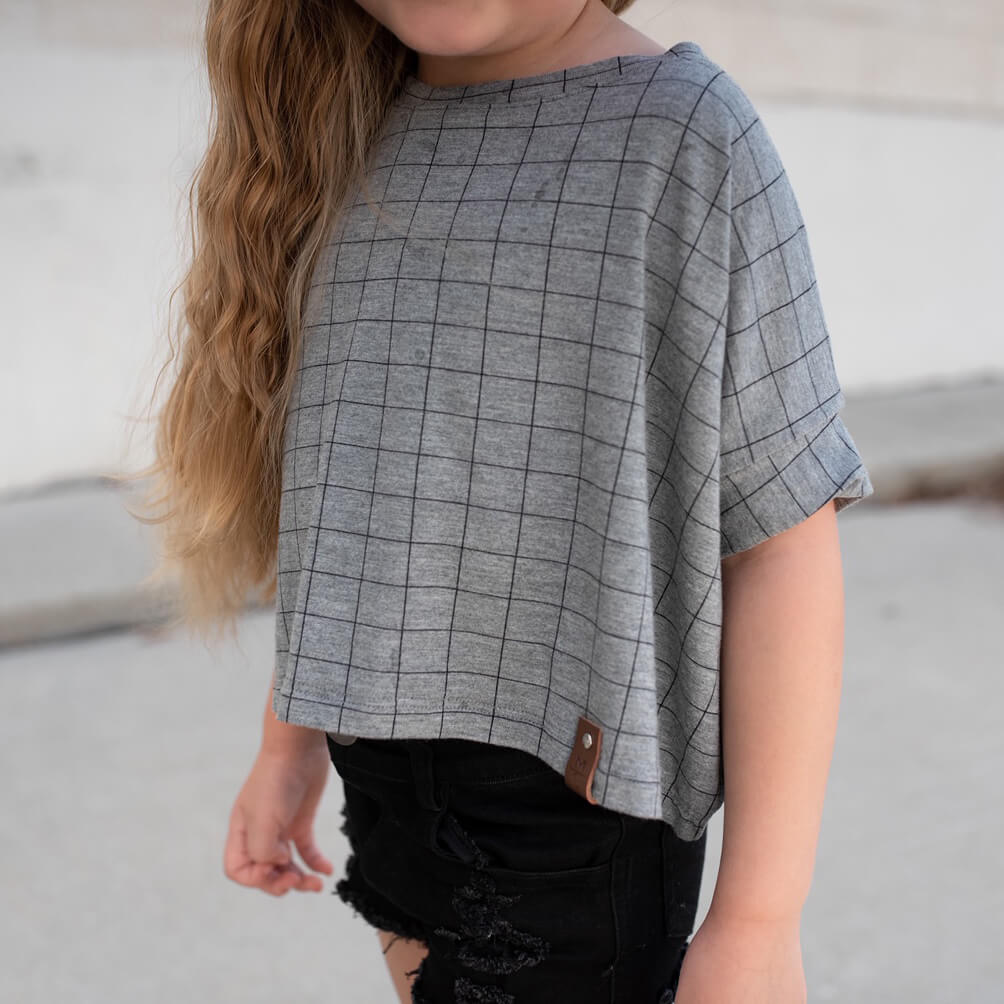 Blaire Crop Top - Grey Check
