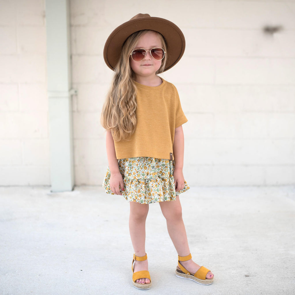 Blaire Crop Top - Mustard Rib