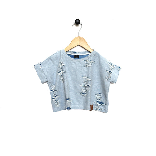 Blaire Crop Top - Distressed Indigo