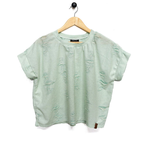 Blaire Woman Top - Distressed Mint