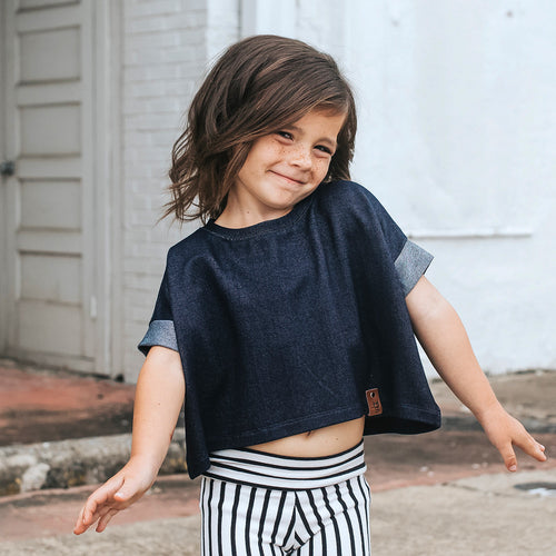 Blaire Crop Top - Indigo Denim