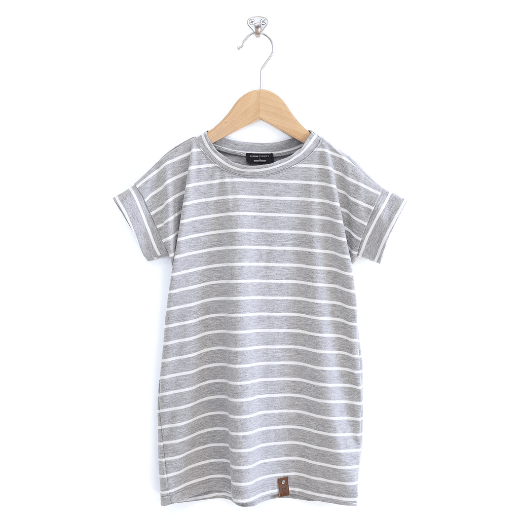 Bree Tee Dress - Grey + White Stripe