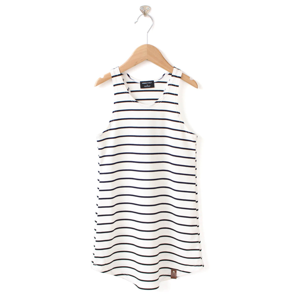 Brooke Racerback Tank Dress - White Stripe