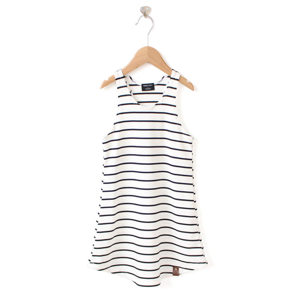 Brooke Women's Racerback Tank Dress - White Stripe
