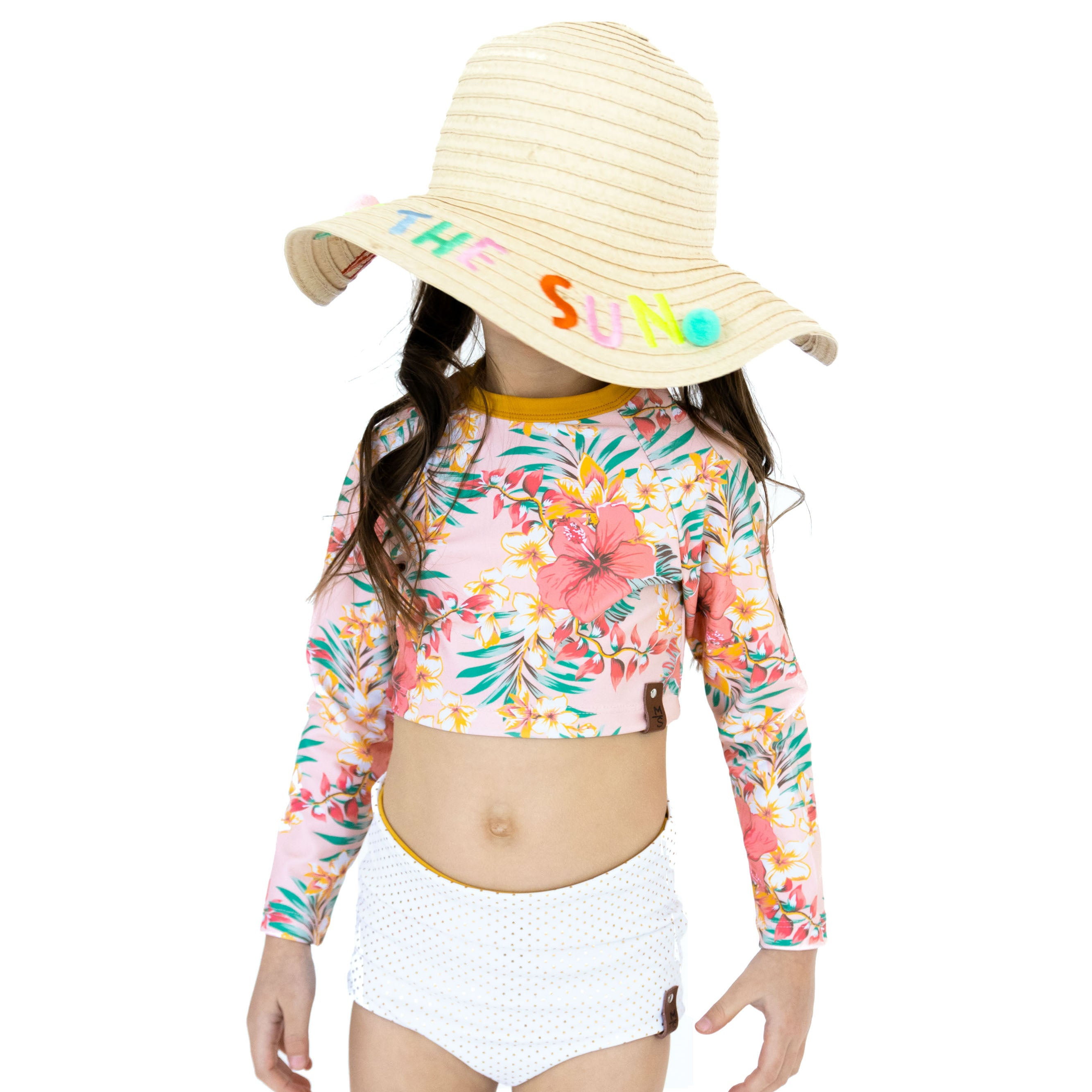 Hadley Rash Swim Top - Coral Tropix