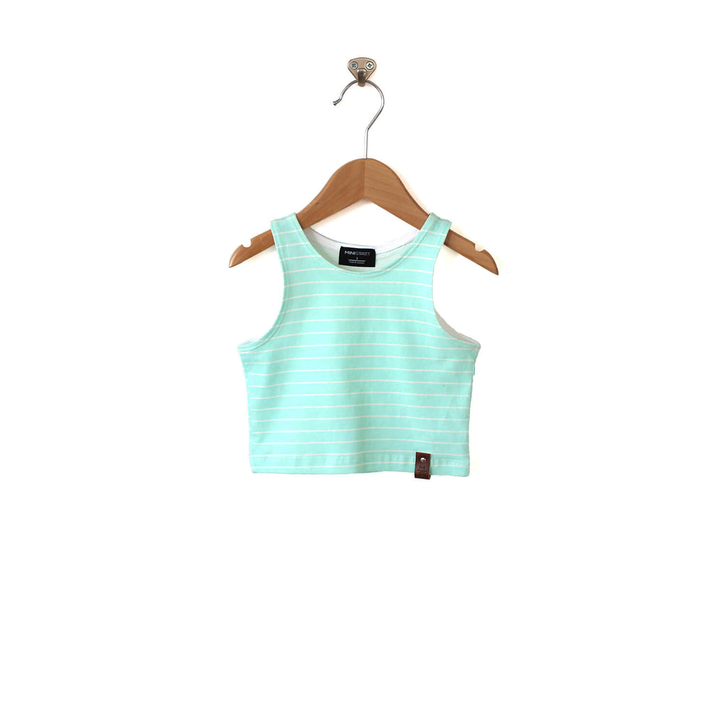 Miley Crop Tank - Mint Stripe