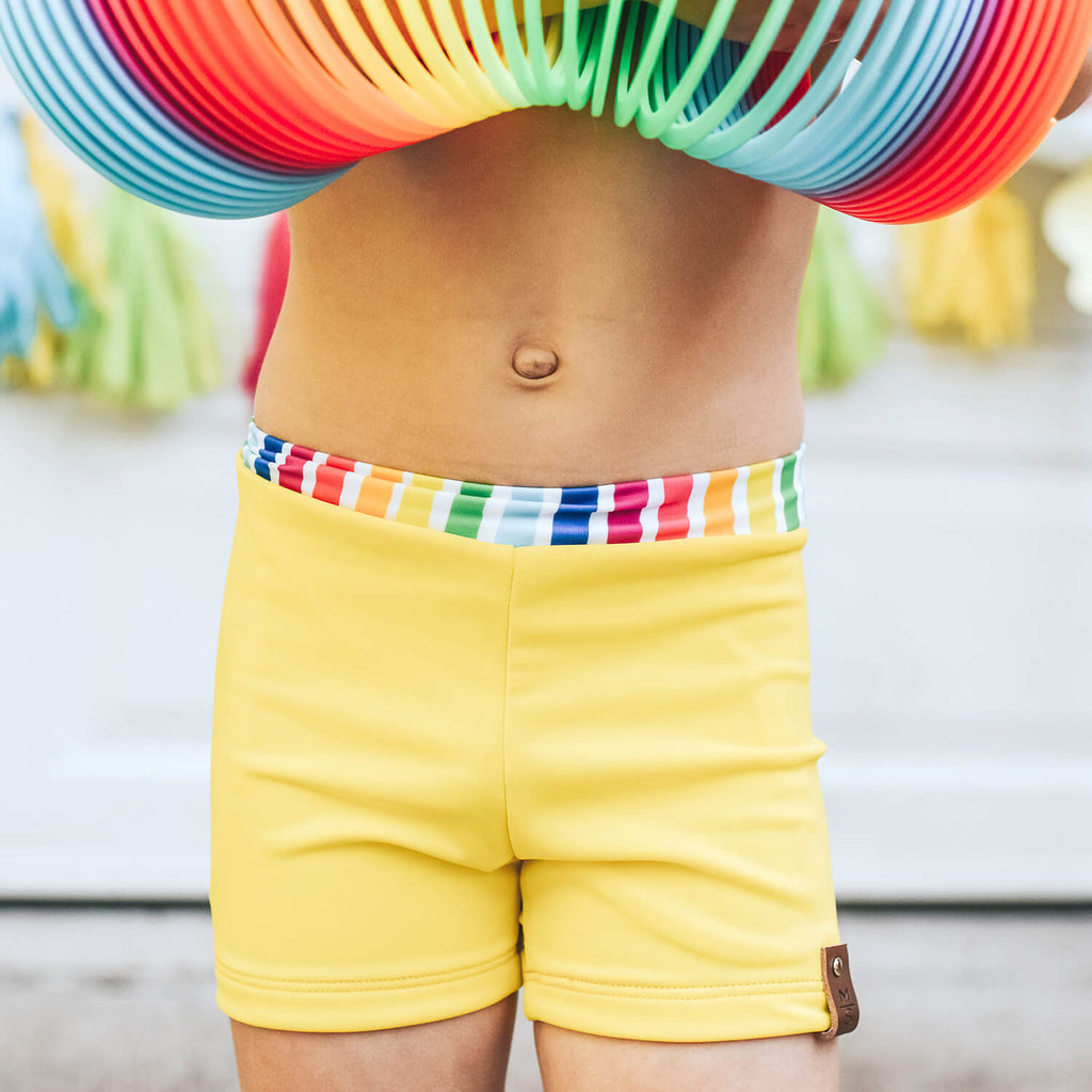 Hudson Euro Swim Shorts - Yellow Rainbow