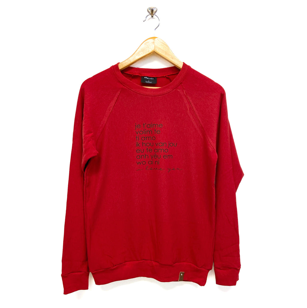 Jaxon Crew Sweater - Adult - I Love You - Red