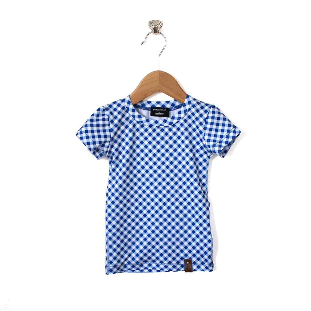 Mae Fitted Tee - Blue Gingham