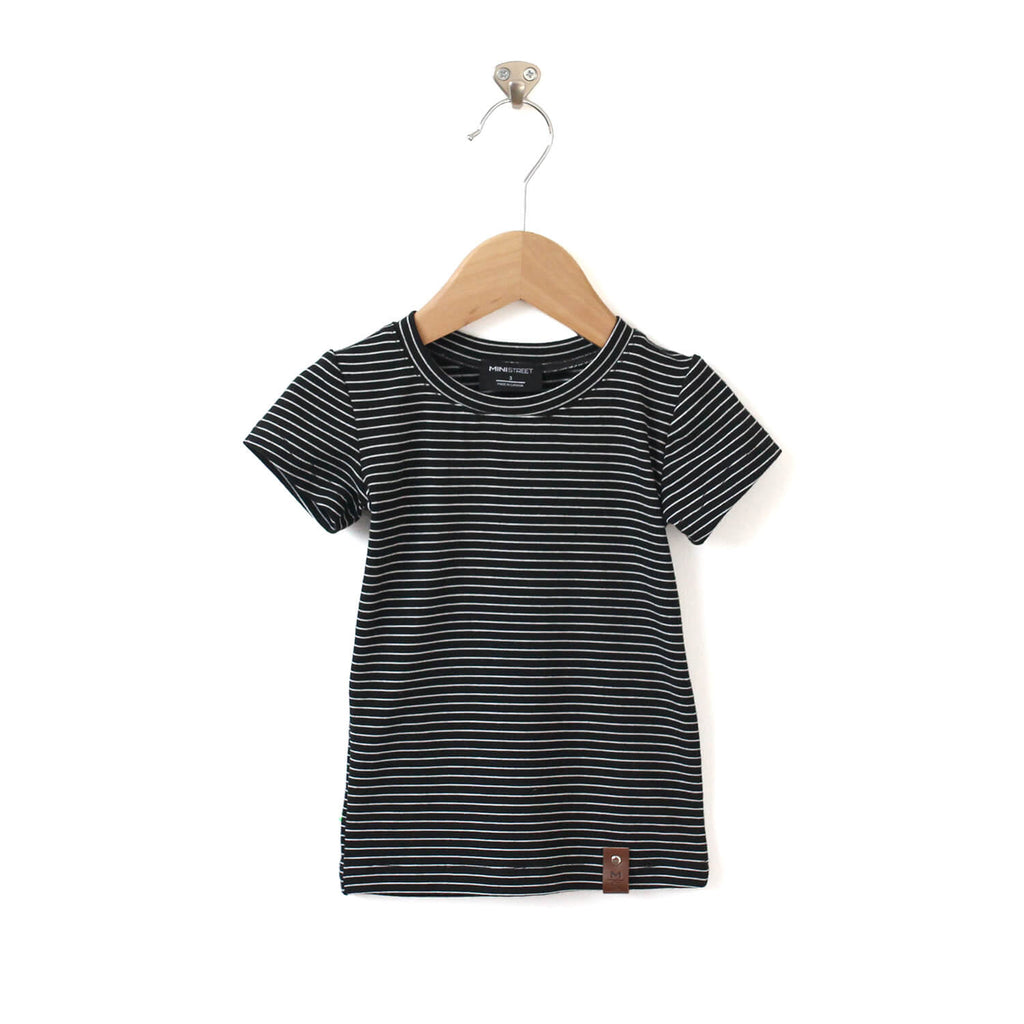 Mae Fitted Tee - Black stripes