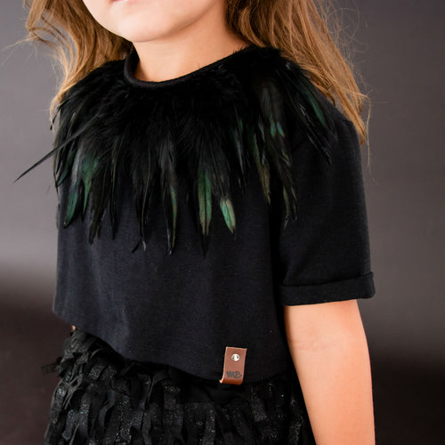G+F Feather Necklace - Black Ivory