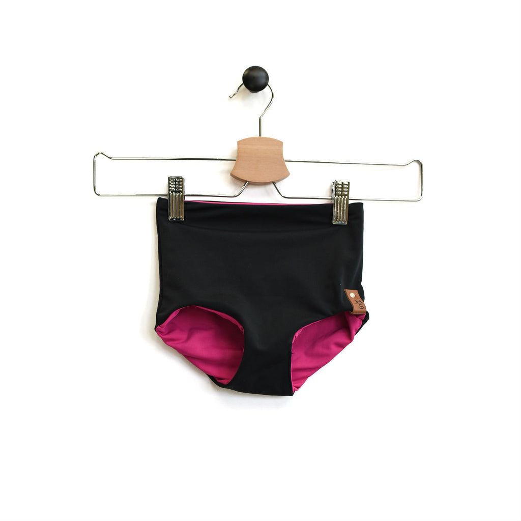Kylie Swim High Waisted Bottoms - Reversible Black Fushia
