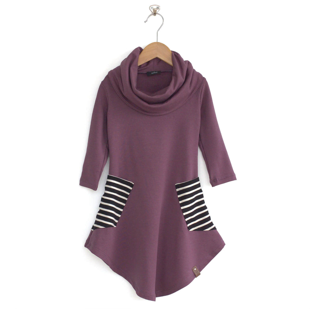 Avery Cowl Dress - Lilac Stripe